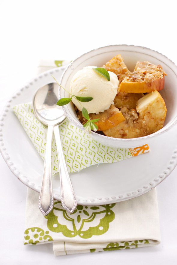 Roasted Apples with Almond and Muscovado Crumble and Marzipan Ice ...