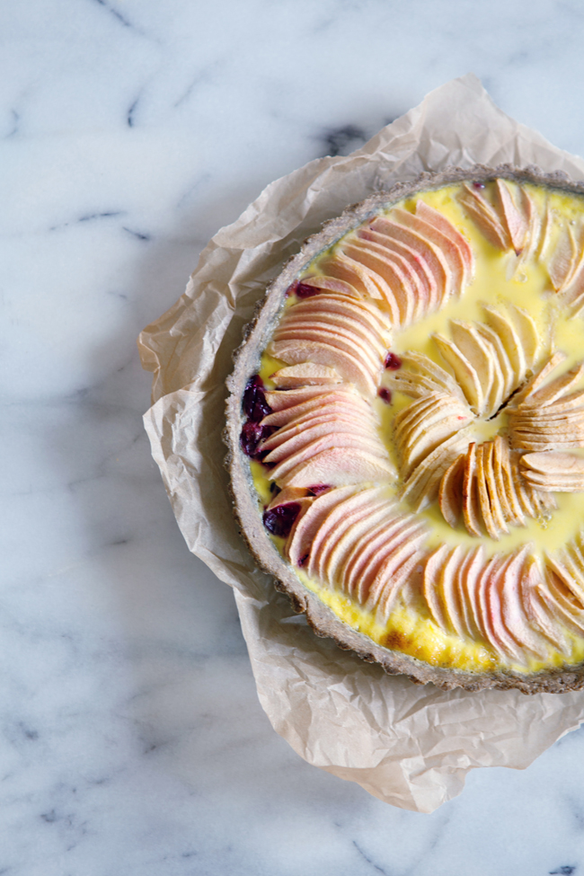 EGluten-free apple and cranberry custard tart