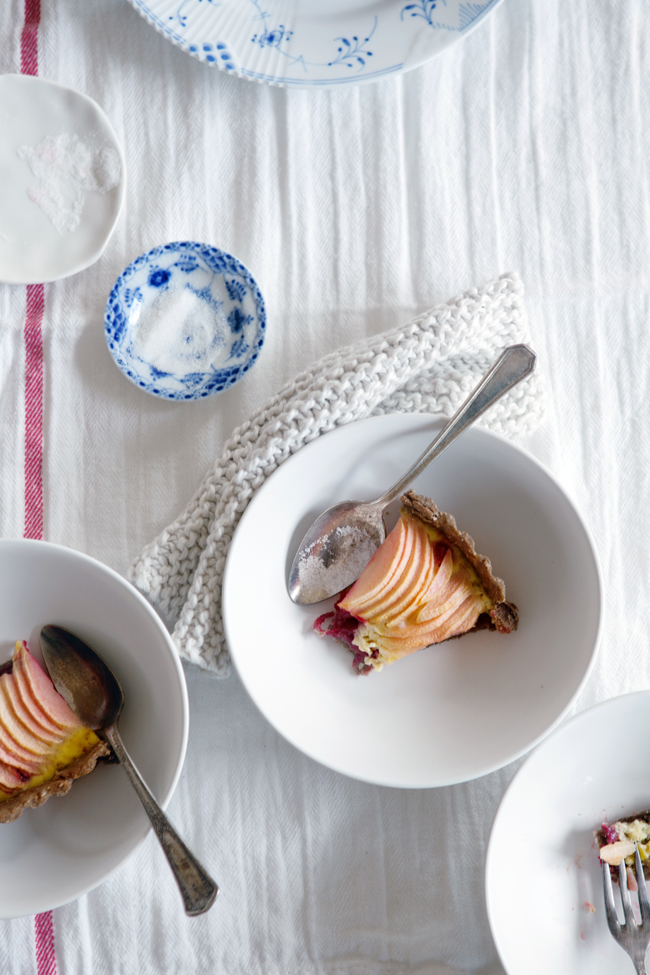 Gluten-free apple and cranberry custard tart