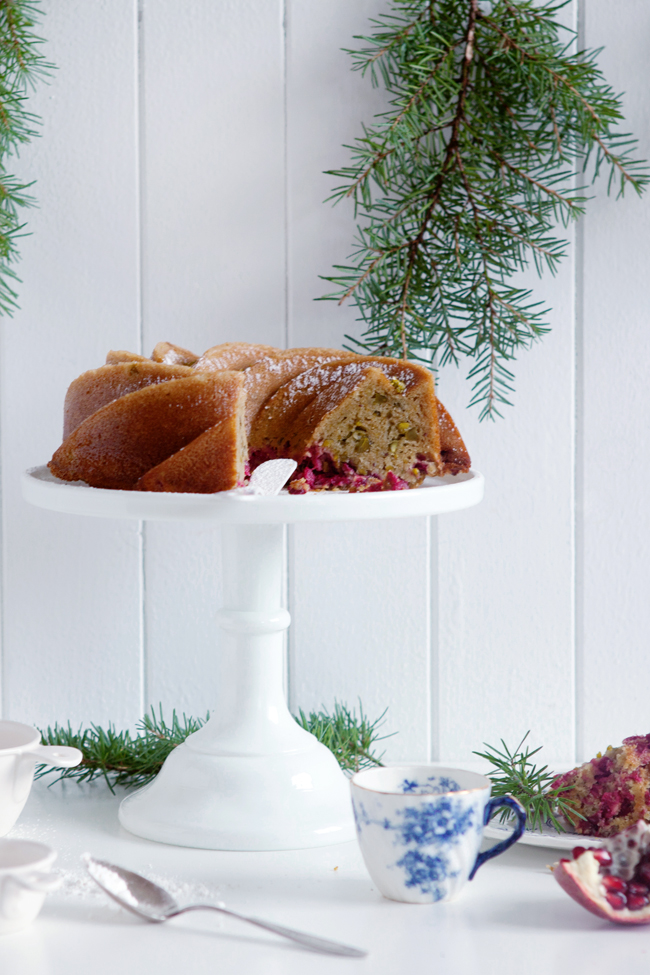 Gluten and dairy free cranberry and pistachio bundt cake