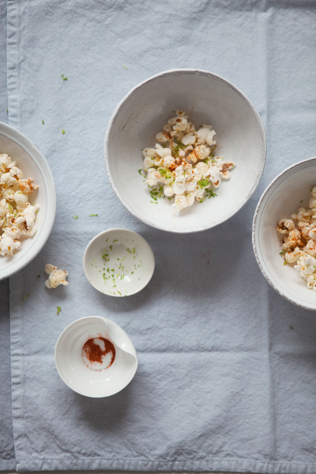 Brown butter, limi and chili popcorn