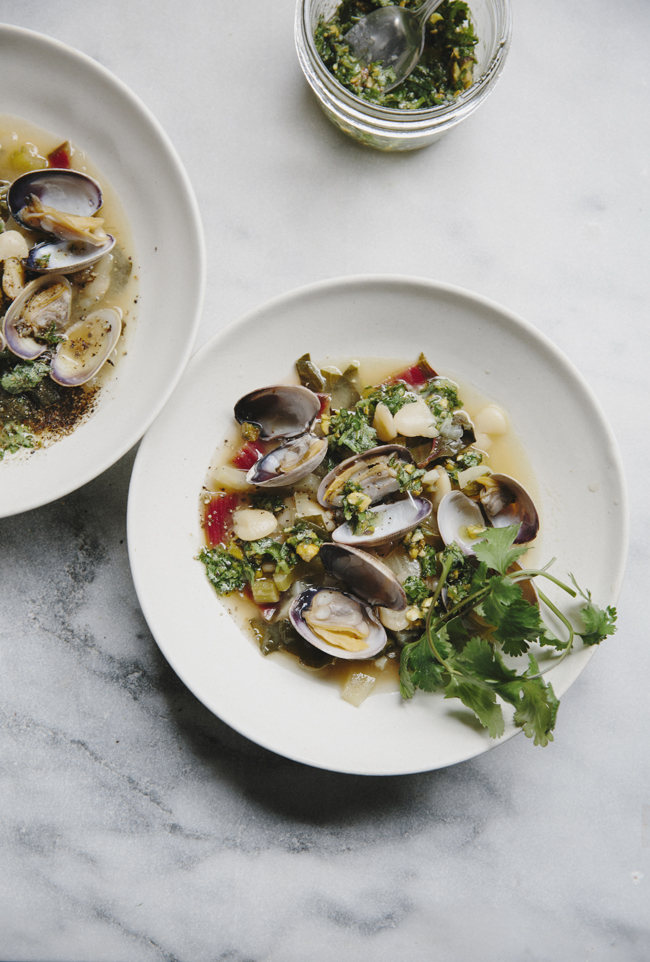 Chard, fennel, bean soup with clams and pistachio pesto | Cannelle et Vanille